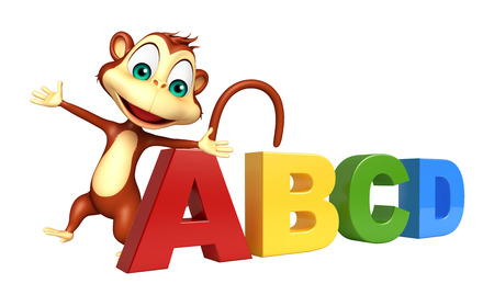 baby toy: 3d rendered illustration of Monkey cartoon character with abcd sign