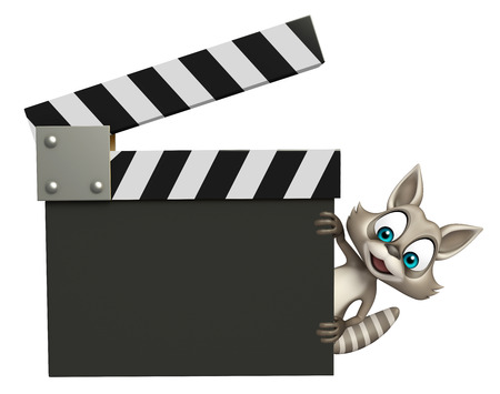 clapboard: 3d rendered illustration of Raccoon cartoon character with clapboard