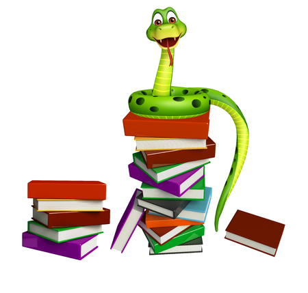 3d snake: 3d rendered illustration of Snake cartoon character with book stack