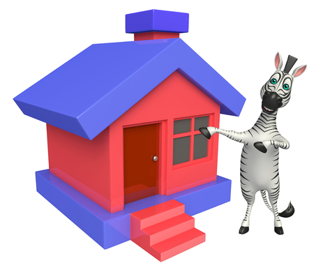 grasslands: 3d rendered illustration of Zebra cartoon character  with home icon