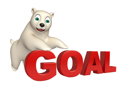 hunny: 3d rendered illustration of Polar bear cartoon character with goal sign
