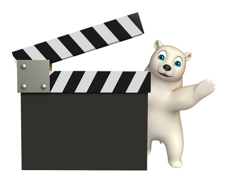 mammalia: 3d rendered illustration of Polar bear cartoon character with clapboard Stock Photo