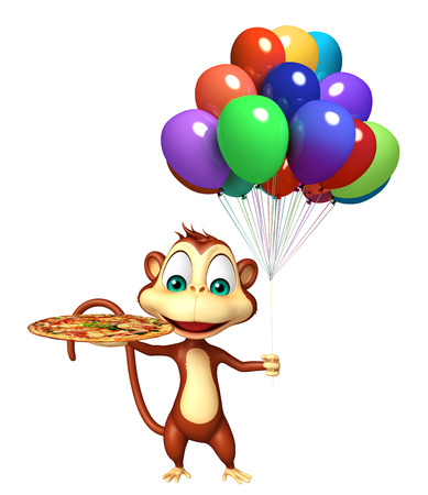 baloon: 3d rendered illustration of Monkey cartoon character with baloon and pizza Stock Photo