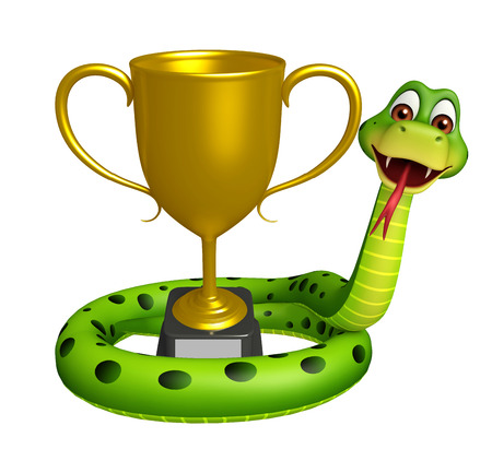 3d snake: 3d rendered illustration of Snake cartoon character with winning cup