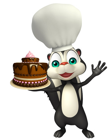 skunk: 3d rendered illustration of Skunk cartoon character with cake and chef hat