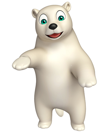 hunny: 3d rendered illustration of funny  Polar bear cartoon character