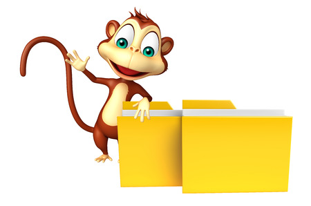 mammalia: 3d rendered illustration of Monkey cartoon character with folder