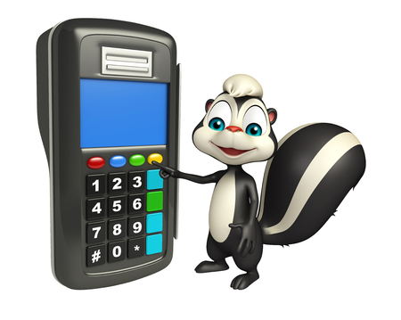 mammalia: 3d rendered illustration of Skunk cartoon character with swap machine Stock Photo