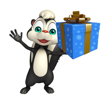 zorrillo: 3d rindió la ilustración de personaje de dibujos animados de la mofeta con caja de regalo