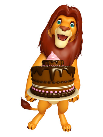 veg: 3d rendered illustration of Lion cartoon character with cake