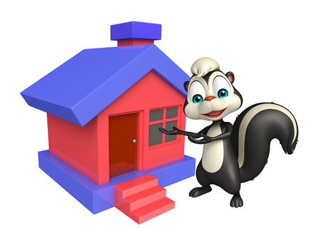 mammalia: 3d rendered illustration of Skunk cartoon character with home Stock Photo