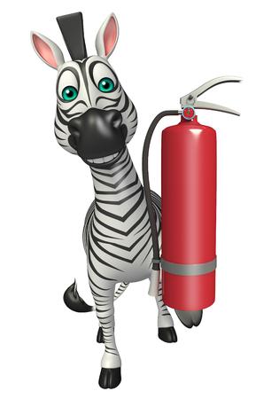 fire extinguishing: 3d rendered illustration of Zebra cartoon character with fire extinguishing Stock Photo