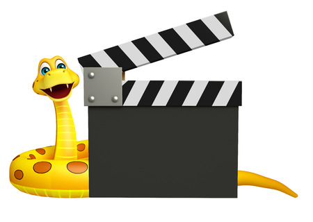 clapboard: 3d rendered illustration of Snake cartoon character with clapboard