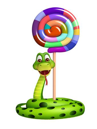 serpiente caricatura: 3d rindió la ilustración de personaje de dibujos animados de la serpiente con caramelo con palo Foto de archivo
