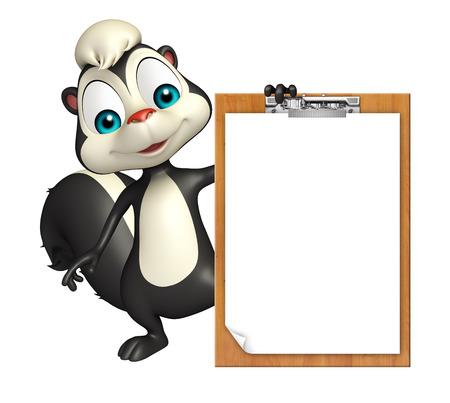 mofeta: 3d rindió la ilustración de personaje de dibujos animados de la mofeta con la pista de examen Foto de archivo