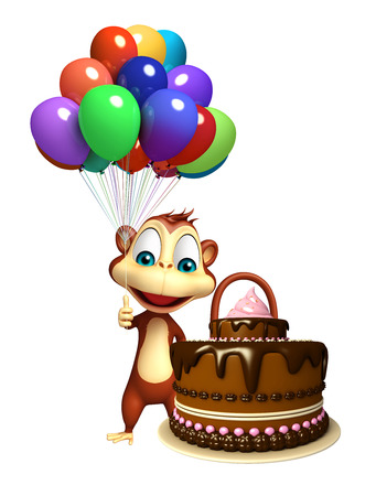baloon: 3d rendered illustration of Monkey cartoon character with baloon and cake