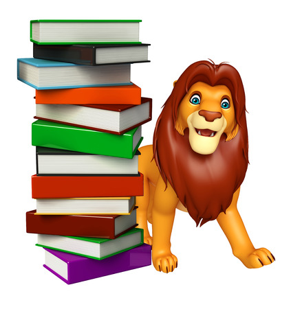 mammalia: 3d rendered illustration of Lion cartoon character with book