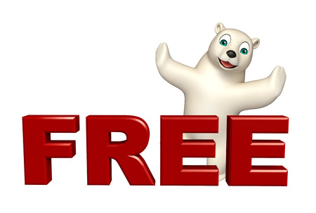 hunny: 3d rendered illustration of Polar bear cartoon character with free sign