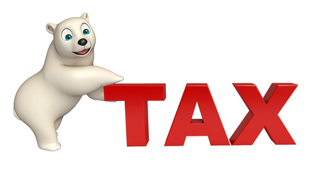 hunny: 3d rendered illustration of Polar bear cartoon character with tax sign