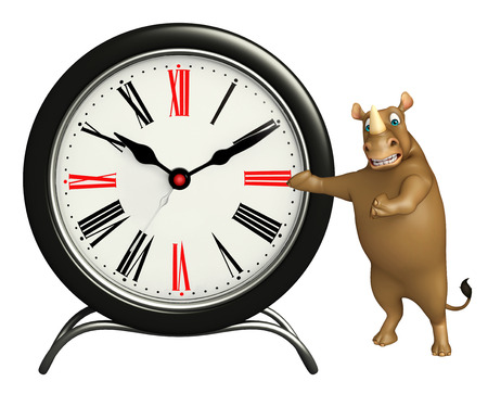 mammalia: 3d rendered illustration of Rhino cartoon character with clock