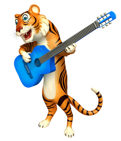 mammalia: 3d rendered illustration of Tiger cartoon character with guitar