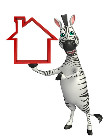 mammalia: 3d rendered illustration of Zebra cartoon character with home sign