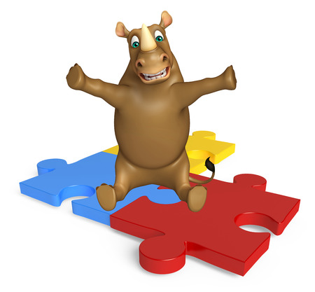 mammalia: 3d rendered illustration of Rhino cartoon character with puzzle
