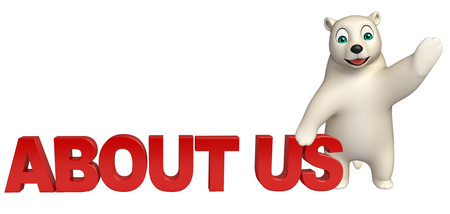 'about us': 3d rendered illustration of Polar bear cartoon character with about us sign