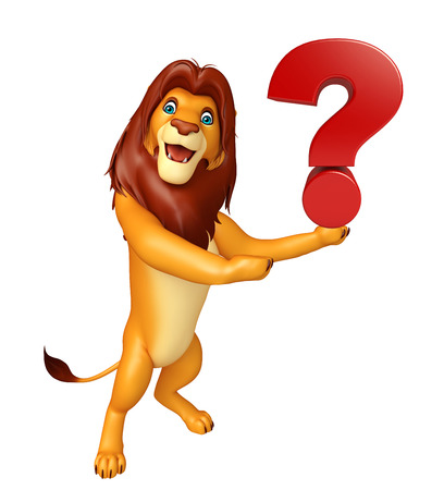 3d lion: 3d rendered illustration of Lion cartoon character with question sign