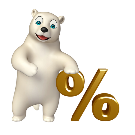 hunny: 3d rendered illustration of Polar bear cartoon character with % sign