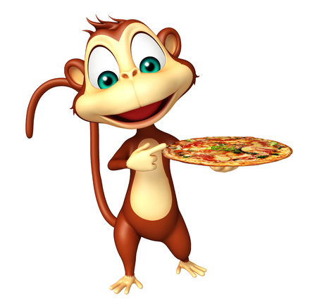 3d pizza: 3d rendered illustration of Monkey cartoon character with pizza