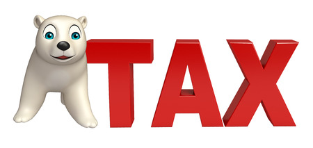 mammalia: 3d rendered illustration of Polar bear cartoon character with tax sign