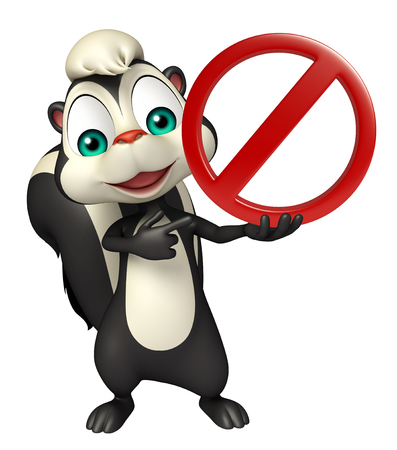 zoo traffic: 3d rendered illustration of Skunk cartoon character with stop sign