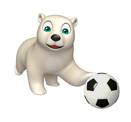 hunny: 3d rendered illustration of Polar bear cartoon character with football