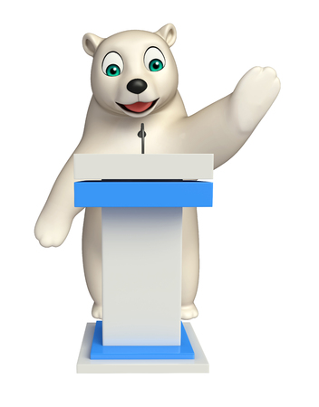 hunny: 3d rendered illustration of Polar bear cartoon character with speech stage