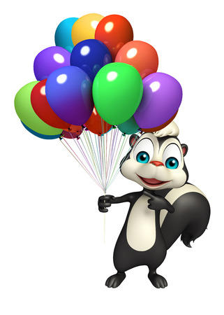 mammalia: 3d rendered illustration of Skunk cartoon character with baloon