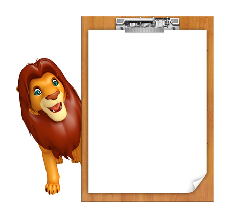 3d lion: 3d rendered illustration of Lion cartoon character with exam pad