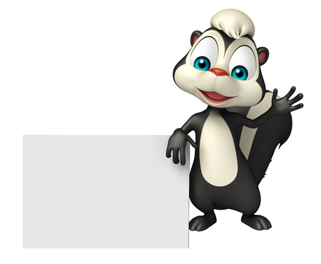mammalia: 3d rendered illustration of Skunk cartoon character with display board Stock Photo