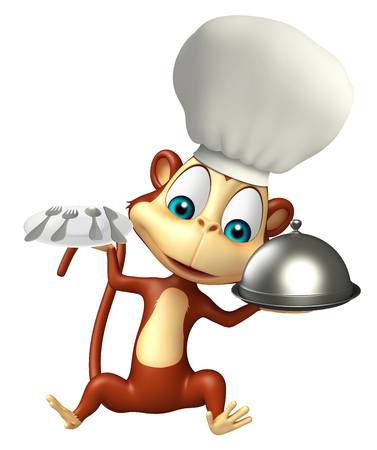 mammalia: 3d rendered illustration of Monkey cartoon character with chef hat and dinner plate, cloche