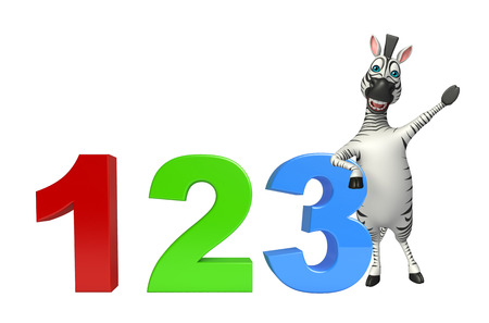 mammalia: 3d rendered illustration of Zebra cartoon character  with 123 sign