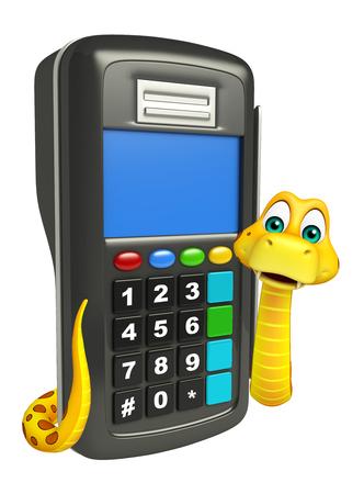 3d snake: 3d rendered illustration of Snake cartoon character swap machine Stock Photo