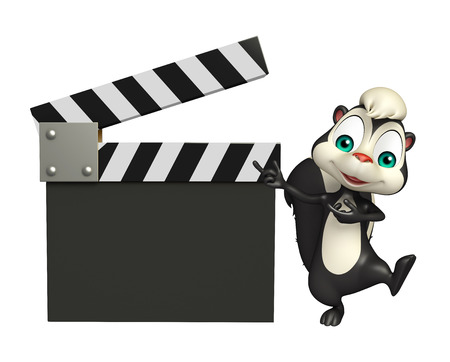 skunk: 3d rendered illustration of Skunk cartoon character with clapboard Stock Photo