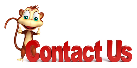 contact us sign: 3d rendered illustration of Monkey cartoon character with contact us sign Stock Photo