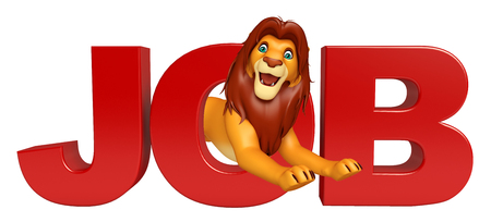 job hunting: 3d rendered illustration of Lion cartoon character with job sign