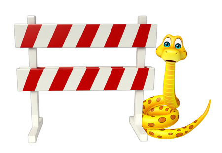 zoo traffic: 3d rendered illustration of Snake cartoon character  with baracade Stock Photo