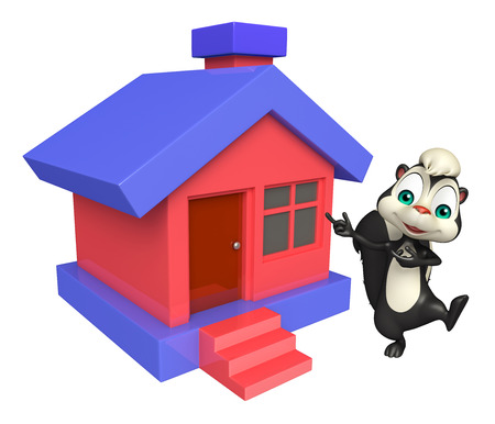 skunk: 3d rendered illustration of Skunk cartoon character with home Stock Photo