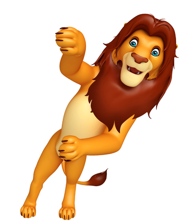 veg: 3d rendered illustration of fuuny  Lion cartoon character