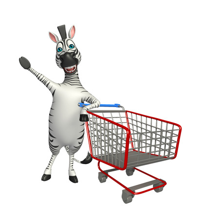 trolly: 3d rendered illustration of Zebra cartoon character with trolly