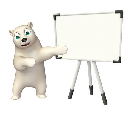 display board: 3d rendered illustration of Polar bear cartoon character with display board