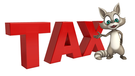 carnivora: 3d rendered illustration of Raccoon cartoon character with tax sign
